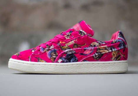 Cartoon Critter Sneakers - The Puma Basket Classic Low Shoes are Made with Hot Pink Felt
