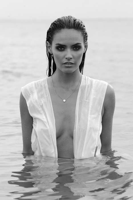 Sensual Grayscale Beach Editorials - The Soma by Peter Soulis Stars Model Monika Clarke