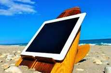 This Wooden iPad Tablet Stand is Perfect for the Beach