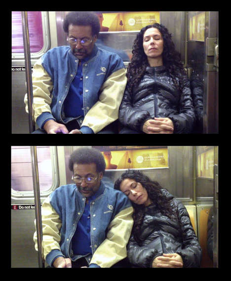 Personal Space Invasion Photos - This Photo Series Shows Subway Commuters Reacting to Strangers