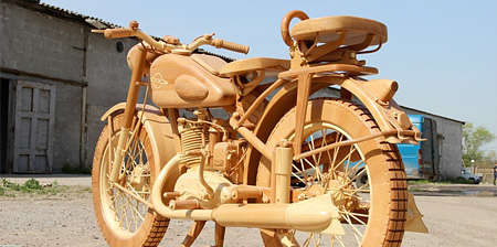 Realistically Carved Hogs - This To-Scale Wooden Motorcycle Sculpture is Incredibly Life-Like