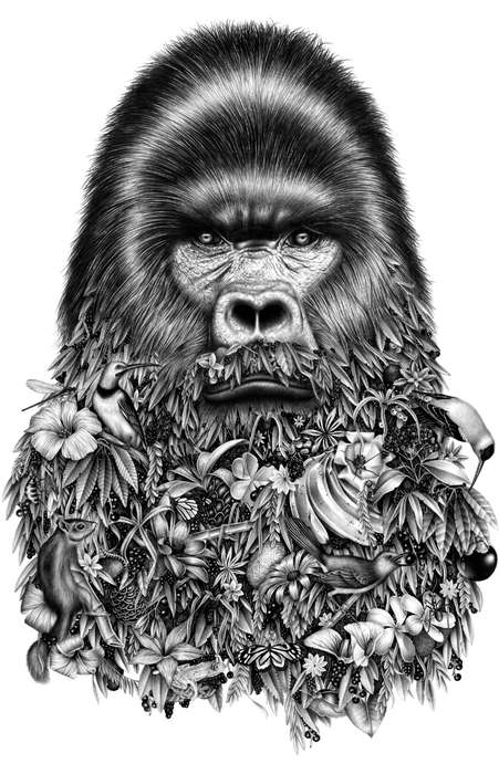 Botanically Bearded Portraits - Violaine & Jeremy Created These Detailed Black and White Drawings