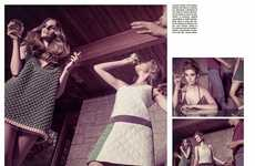 1970s Posh Party Photoshoots - The Vogue Italia So Glam Editorial Celebrates Retro Vintage Parties