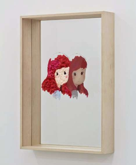 Reflected Anime Paintings - Makoto Taniguchi's Installation is a Contemplative Piece on Duality