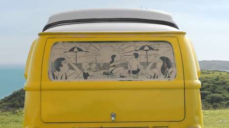 Artistic Camper Ads - This Kleenex Commercial Uses the Tissue To Create Dusty Rear Window Art