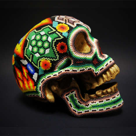 Mexican Themed Bone Designs - This Skull Artwork is Part of a Revolucionario Design Installation