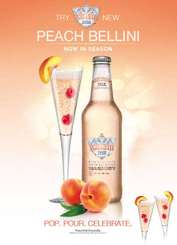 Pre-Mixed Peach Coolers - The Smirnoff Ice Peach Bellini is a Fresh Twist on a Brunch Favourite