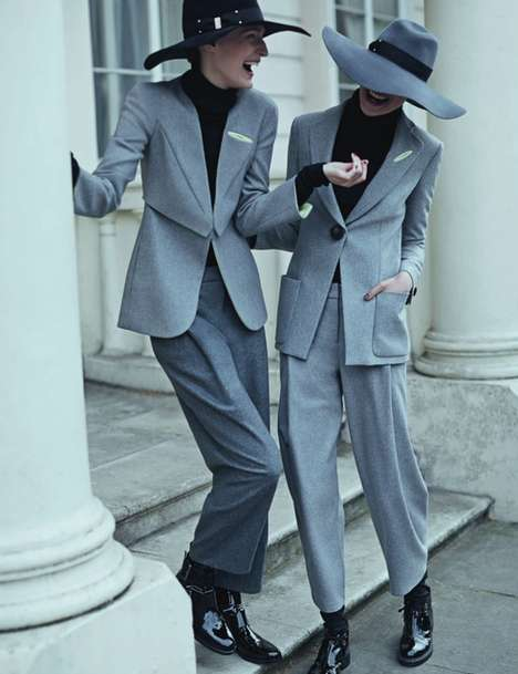 Remixed Business Attire Editorials - The Elle UK The New Suit Photoshoot Updates Apparel