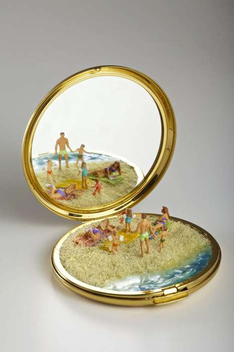 Compact Mirror Sculptures - Kendal Murray Creates Mini Sculptures Into Small Mirrors and Purses