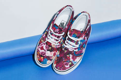 Fancy Floral Sneakers - These Floral Sneakers Feature Designs by the Legendary Thierry Boutemy