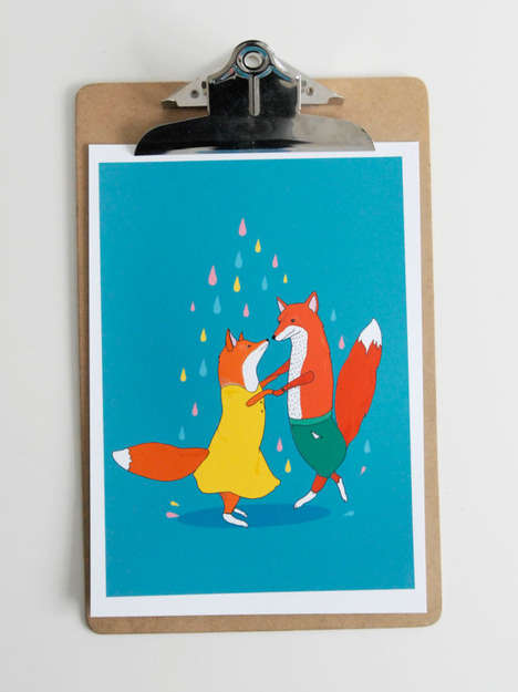 Animal Romance Illustrations - This Dancing Foxes Poster by Etsy User Stacie Swift are Charming