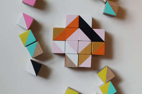 Artful Wooden Block Toys - These Printed Cube Blocks from Etsy