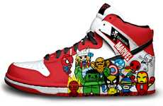 54 Dynamic Comic Book Shoes - From Caped Hero Sneakers to Badass Superhero Kicks