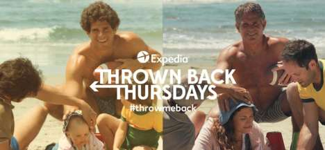 Nostalgic Travel Campaigns - Expedia's 'Throw Me Back' Recreates #TBT Photos from Summers Past