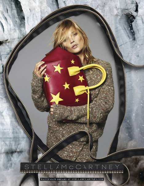 Zippered Fashion Ads - The Latest Stella McCartney Fall Campaign Stars Kate Moss