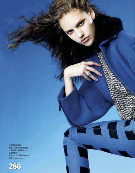 Windblown Azure Editorials - Maggie Jablonski Dresses in Blue for the Current Issue of Vogue Taiwan