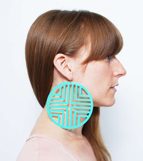 Dynamic Geometric Jewelry - These Oversized Pattern Earrings from HOTTT.COM are Visually Bold