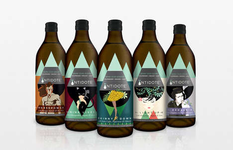Illustrative Drink Packaging - Antidote's Juice Packaging Tells a Story for Its Unique Benefits