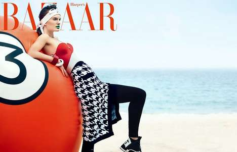 Vibrant Sporty Swimwear - The Latest Issue of Harper's Bazaar China Stars Carolina Sjostrand