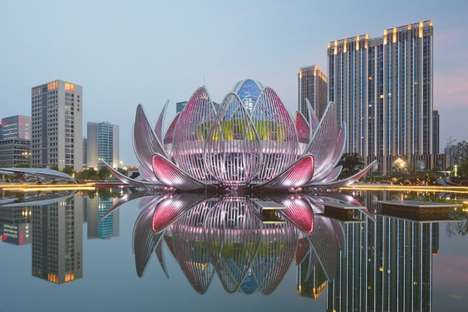 Gargantuan Lotus Landmarks - This Civic Landmark Encircles Visitors with Its Shape