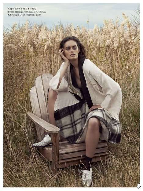 Wilderness-Based Westerner Editorials - The Elle Australia Coming Undone Photoshoot is Cowboy-Themed