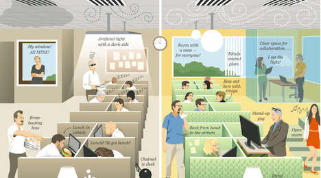 Unhealthy Office Infographics - The Washington Illustrates Moving Towards a Healthy Work Environment