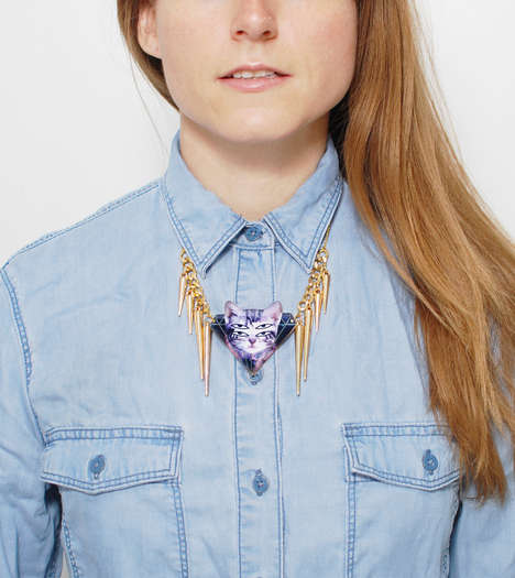 Festival Feline Accessories - This Psychadelic Cat Necklace from HOTTT.COM is Whimsical