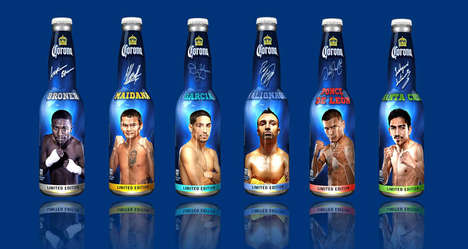 Boxing Beer Bottle Packaging - The Golden Boy Boxer Beer Bottles by Corona are Limited-Edition