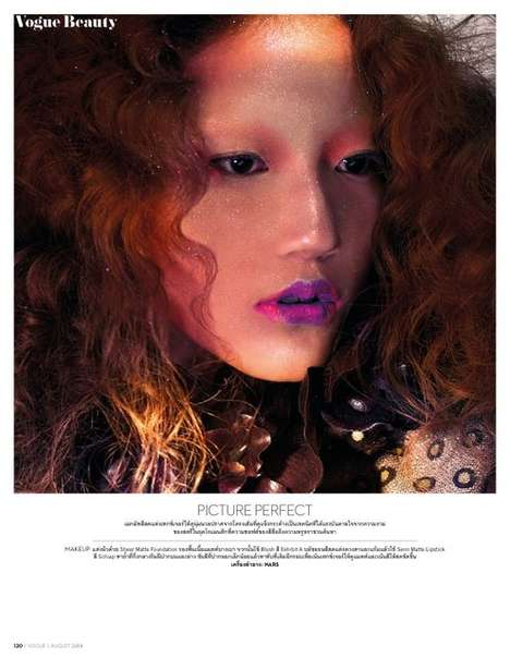 Color-Clashing Cosmetic Editorials - The Vogue Thailand Vogue Beauty Photoshoot Displays Make Up