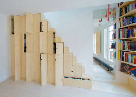 Quirky Cabinet Staircases - This Parisian Apartment Features a Cupboard Staircase
