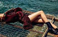 Seductive Shipwrecked Editorials - Karmen Pedaru Poses on a Beach in Francesco Scognamiglio Designs