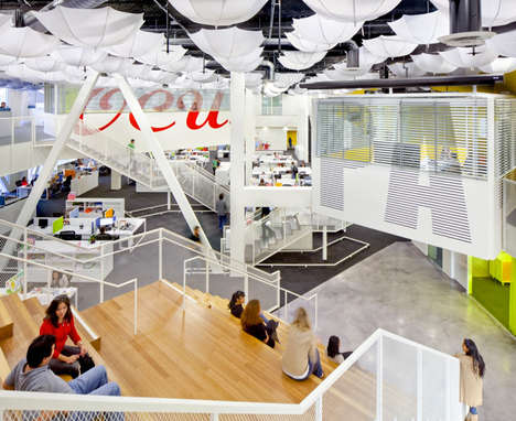 Umbrella-Clad Workspaces - Grupo Gallegos Agency Receives a Makeover from Lorcan O