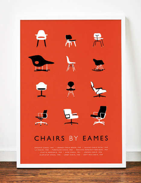 Chair Classification Posters - This Eames Art Print Illustrates the Designer