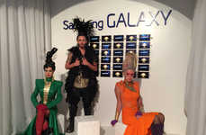 Dystopian Convention Booths - Hunger Games' Comic Con Booth Merged High Fashion with Samsung Tech