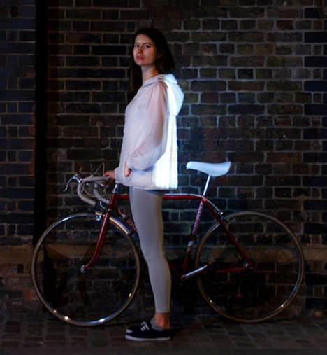 Glowing Cyclist Jackets - Deimatic Clothing by Will Verity Turns People into Giant Fireflies