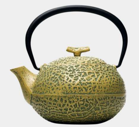 Metallic Melon Tea Pots - This Tea Pot Design is Inspired by the Inflated Cost of Melons in Japan