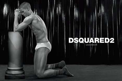 Statuesque Undergarment Fashion Campaigns - The Dsquared2 Underwear 2014 Ads Feature Upright Poses