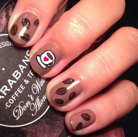 Coffee Nail Art - Huffington Post Compiles Java Jolting Manicures for Inspiration