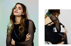 Grungy Goth Editorials - Model Elisa Sednaoui Poses in Mesh Tops for Lurve Magazine