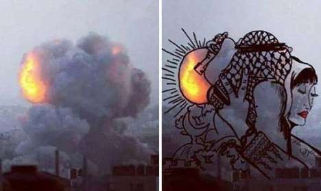Powerful Bomb Illustrations (UPDATE) - Palestinian Artists Humanize Photos of Explosions