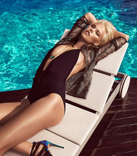 Golden Glam Swimwear Editorials - Julia Almendra is a Goddess in Woman Spain Magazine