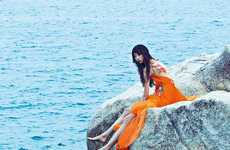Exotic Cliffside Editorials - The Latest Issue of ELLE Vietnam Stars Yue Ning
