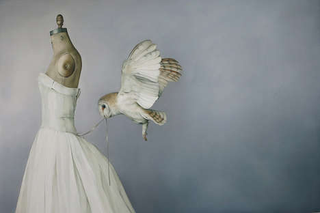 Owl Undressing Artworks - Amy Judd Created a Mysterious Painting of a Bird
