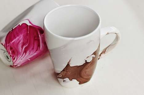 DIY Watercolor Mugs - Give Your White Ceramic Mugs an Artistic Makeover With Nail Polish