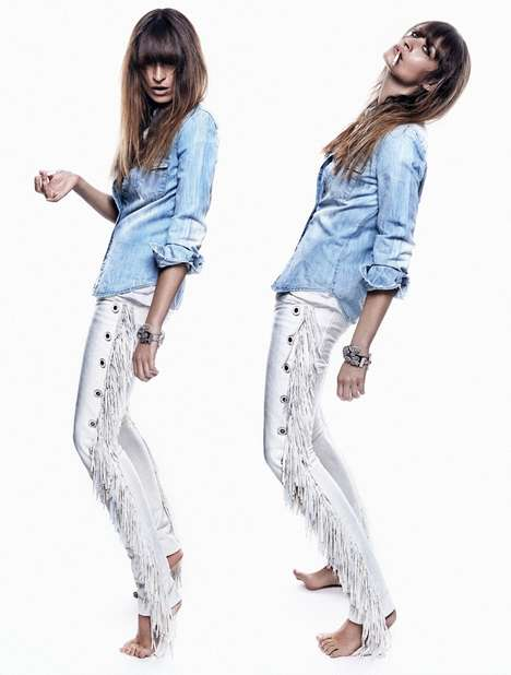 Rockstar Denim Editorials - Caroline De Maigret Gives a Lot of Attitude in ELLE Spain