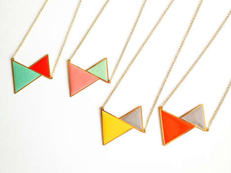 Charming Geometry Accessories - This Pastel Twin Triangle Necklace from Artsy Modern is Simply Chic