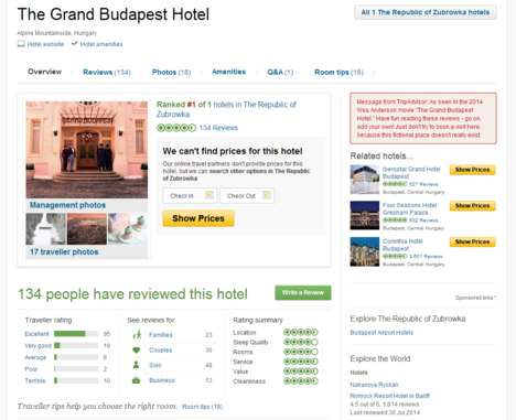Filmic Hotel Reviews - You Can Now Post a Grand Budapest Hotel Review on TripAdvisor