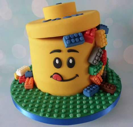 Playful LEGO Cakes - Cakes by Carol Bakes a Minifig Head Leaking Colorful Building Blocks