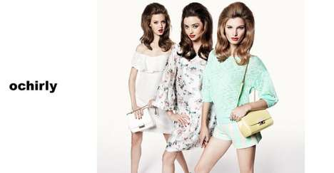 Retro Triad Fashion Campaigns - The Ochirly Spring/Summer 2014 Ads Showcase Three Models Only