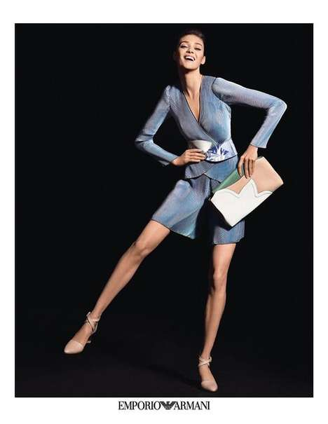 Couture Frolicking Fashion Campaigns - The Emporio Armani Spring/Summer 2014 Ads Display Movement